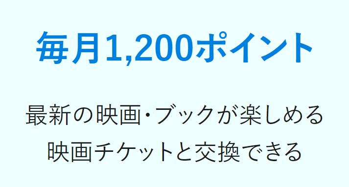 特典その3 月額会員になると毎月1200ポイント貰える